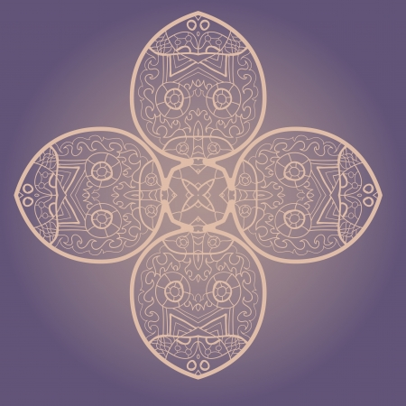 Oriental mandala motif round lase pattern on the violet background, like snowflake or mehndi paint Stock Vector - 18115736
