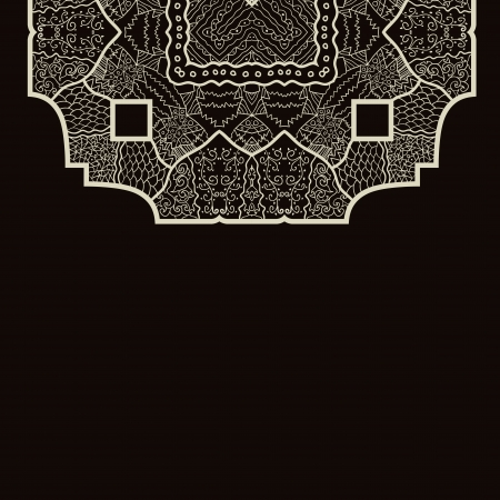 Oriental mandala motif round lase pattern on the brown background, like snowflake or mehndi paint Stock Vector - 18215808