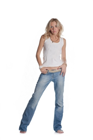 pretty blond women on white background  Weared in jeans and white shirt photo