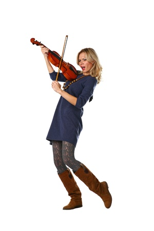 20 24 years old: crazy violin player, pretty blonde women isolated on white  Stock Photo