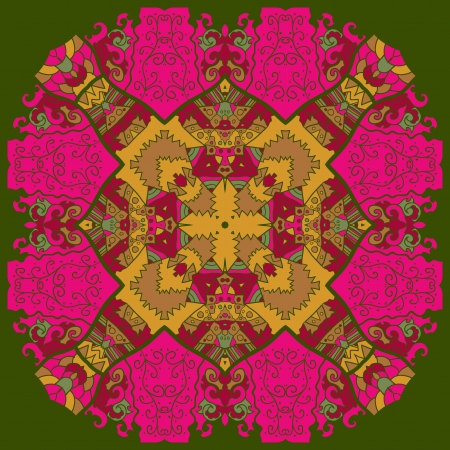 Oriental pink and violet mandala motif round lase pattern on the green background, like snowflake or mehndi paint Vector