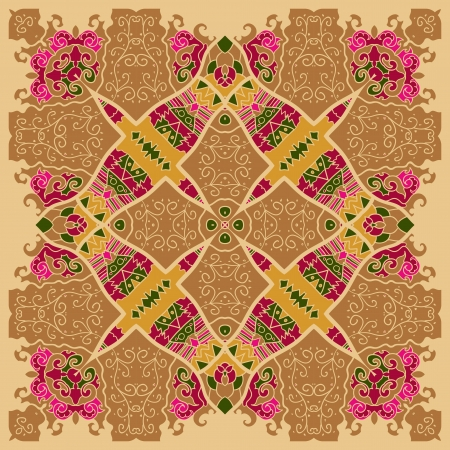 Oriental motif square lase pattern on the brown background, like snowflake or mehndi paint color background Vector