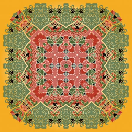 Oriental mandala motif round lase pattern on the yellow background, like snowflake or mehndi paint color background Vector