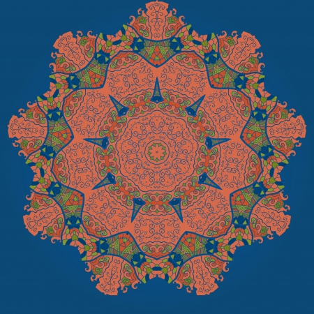 Oriental mandala motif round lase pattern on the blue background, like snowflake or mehndi paint in blue color Vector