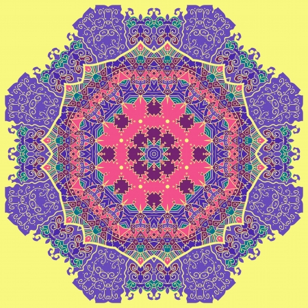 Oriental violet mandala motif round lase pattern on the yellow background, like snowflake or mehndi paint background Vector