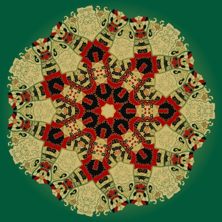 Oriental mandala motif round lase pattern on the green background, like snowflake or mehndi paint colorful background Vector