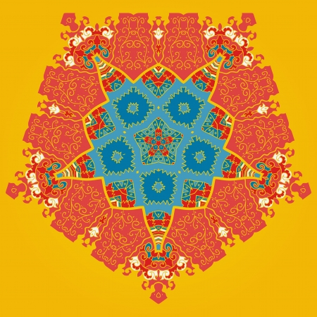 Oriental mandala motif round lase pattern on the yellow orange background, like snowflake or mehndi paint color background Vector
