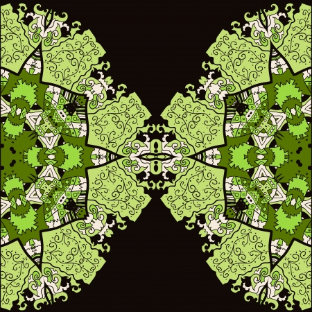 Oriental green mandala motif half round lase half pattern on the black background, like snowflake or mehndi paint colorful background Vector