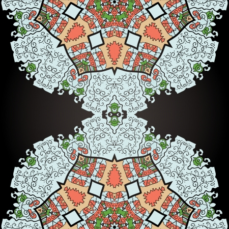 Oriental mandala motif half round lase pattern on the black background, like snowflake or mehndi paint color background Vector