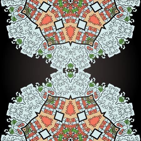 Oriental mandala motif half round lase pattern on the black background, like snowflake or mehndi paint color background Stock Vector - 18215852