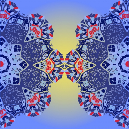mongoloid: Oriental mandala motif half round lase pattern on the blue background, like snowflake or mehndi paint in blue color Illustration