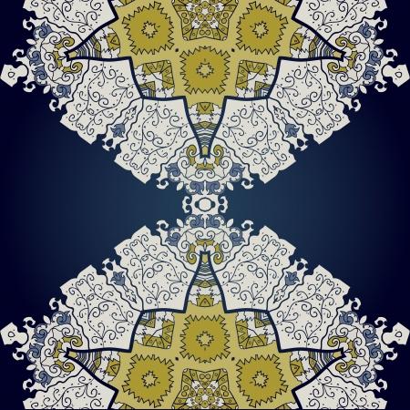 Oriental mandala motif half round lase pattern on the black background, like snowflake or mehndi paint color background Stock Vector - 18215841