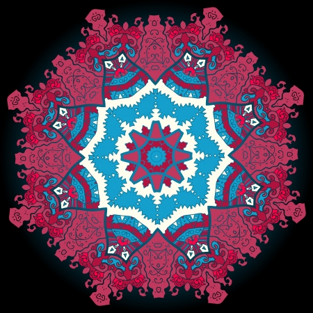 Oriental mandala motif round lase pattern on the black background, like snowflake or mehndi paint of deep red color Vector