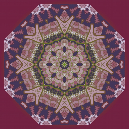 Oriental mandala motif round lase pattern on the cherry background, like snowflake or mehndi paint of violet color  Ethnic backgrounds concept Vector