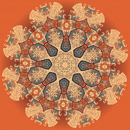 Oriental mandala motif round lase pattern on the yellow background, like snowflake or mehndi paint of orange color  Ethnic backgrounds concept