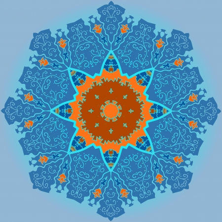 Oriental mandala motif round lase pattern on the light-blue background, like snowflake or mehndi paint in blue and orange color  Ethnic backgrounds native art concept Vector