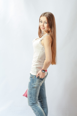 young blonde wearing jeans jacket torso shot photo