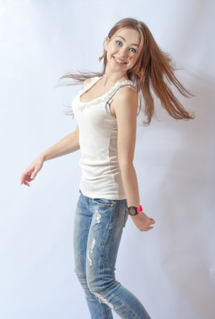 modern style dancer posing on studio background Stock Photo - 18260549