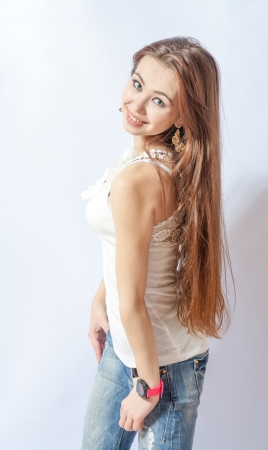 young blonde wearing jeans jacket torso shot Stock Photo - 18260356
