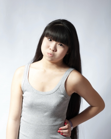 portrait of a lovely young asian woman studio on white headshot making face photo