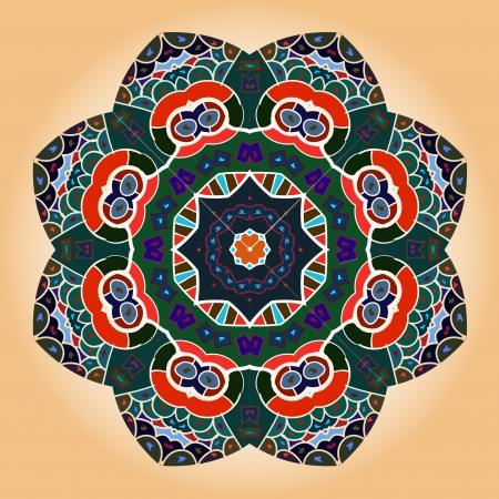 Oriental mandala motif round lase pattern on the brown background, like snowflake or mehndi paint Vector