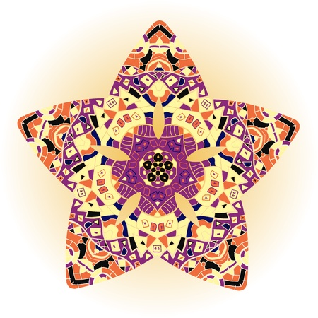 Oriental mandala motif round lase pattern on the yellow background, like snowflake or mehndi paint of orange color Vector