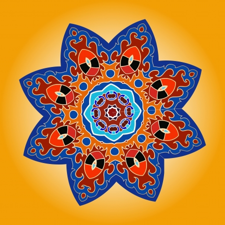 mendie: Oriental mandala motif round lase pattern on the yellow background, like snowflake or mehndi paint of orange color Illustration