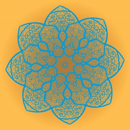 Oriental mandala motif round lase pattern on the brown background, like snowflake or mehndi paint