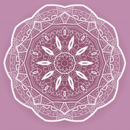 Oriental mandala motif round lase pattern on the violet background, like snowflake or mehndi paint Stock Vector - 18304778