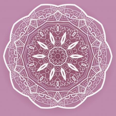 Oriental mandala motif round lase pattern on the violet background, like snowflake or mehndi paint Stock Vector - 18304778