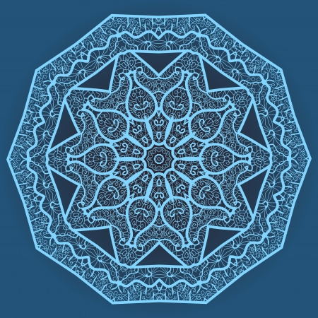 Oriental mandala motif round lase pattern on the blue background, like snowflake or mehndi paint in light-blue color  Ethnic backgrounds native art concept Stock Vector - 18304789