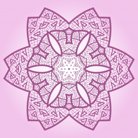 Oriental mandala motif round lase pattern on the violet background, like snowflake or mehndi paint Stock Vector - 18304781
