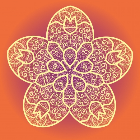 alight: Oriental mandala motif round lase pattern on the yellow background, like snowflake or mehndi paint on yellow color background Illustration