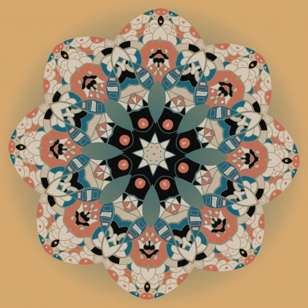 Oriental mandala motif round lase pattern on the brown background, like snowflake or mehndi paint Stock Vector - 18304786