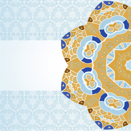 mendie: Oriental mandala motif half round lase pattern on the light-blue background, like snowflake or mehndi paint color background