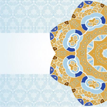 Oriental mandala motif half round lase pattern on the light-blue background, like snowflake or mehndi paint color background