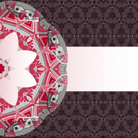 Oriental mandala motif round lase pattern on the brown background, like snowflake or mehndi paint of orange color