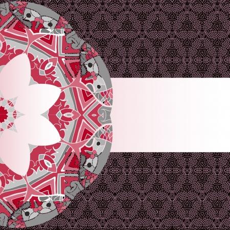 Oriental mandala motif round lase pattern on the brown background, like snowflake or mehndi paint of orange color