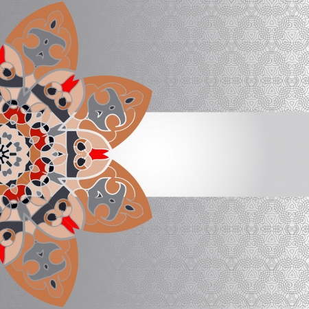 ottoman fabric: Oriental brown mandala motif half-round lase pattern on the gray background, like snowflake or mehndi paint of orange color