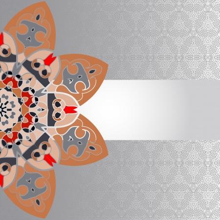 Oriental brown mandala motif half-round lase pattern on the gray background, like snowflake or mehndi paint of orange color