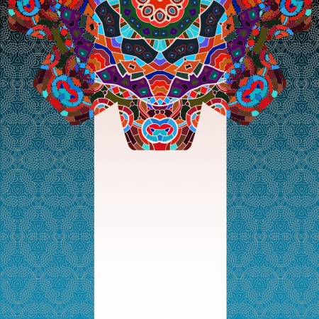 Oriental mandala motif round lase pattern on the blue background, like snowflake or mehndi paint on deep red color background