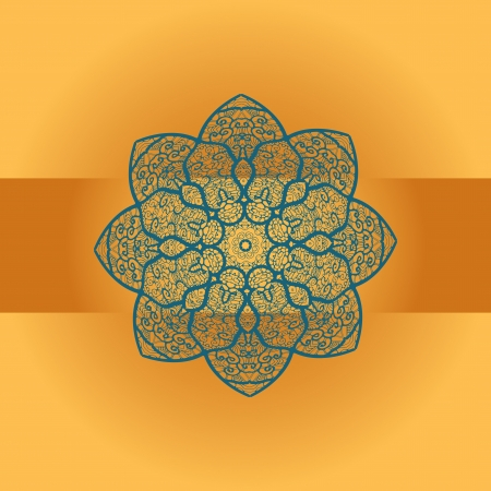 Oriental mandala motif round lase pattern on the brown orange background, like snowflake or mehndi paint