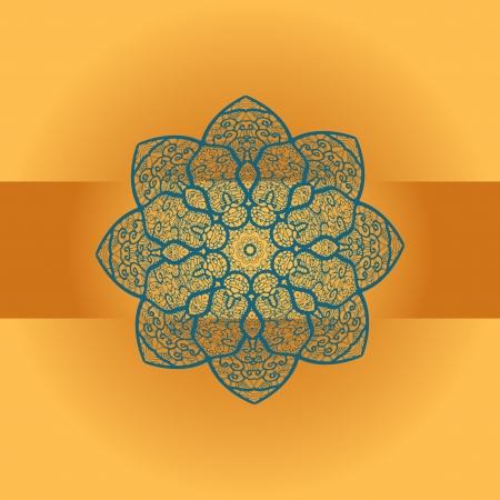 Oriental mandala motif round lase pattern on the brown orange background, like snowflake or mehndi paint