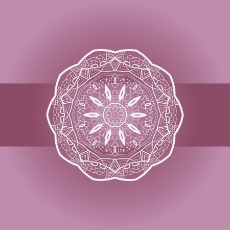 Oriental mandala motif round lase pattern on the violet background, like snowflake or mehndi paint Vector