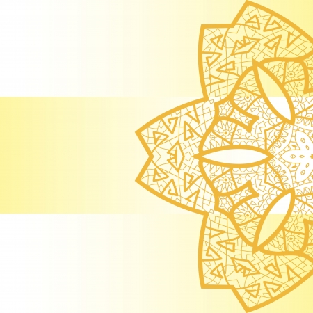 Oriental mandala motif round lase pattern on the yellow background, like snowflake or mehndi paint on yellow color background Illustration