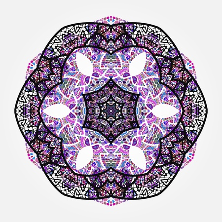 Oriental violet mandala motif round lase pattern on the gray background, like snowflake or mehndi paint Illustration