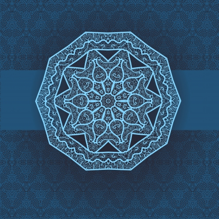 Oriental mandala motif round lase pattern on the blue background, like snowflake or mehndi paint in light-blue color  Ethnic backgrounds native art concept Vector