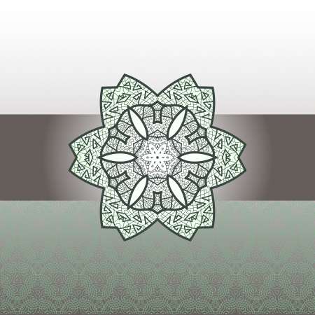 Oriental green mandala motif round lase half pattern on the green background, like snowflake or mehndi paint colorful background Vector