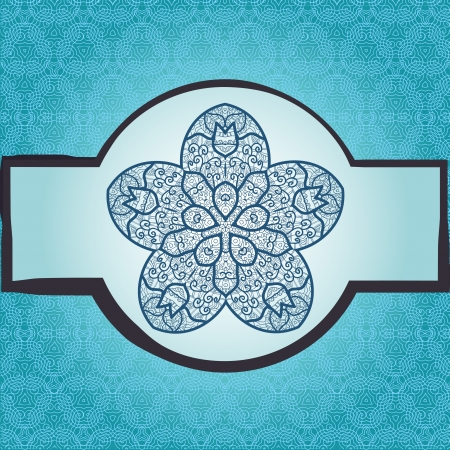 Oriental mandala motif round lase pattern on the blue background, like snowflake or mehndi paint in light-blue color  Ethnic backgrounds native art concept Stock Vector - 18322398