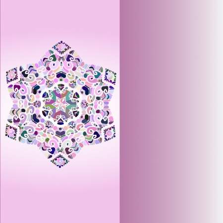 Oriental mandala motif round lase pattern on the violet background, like snowflake or mehndi paint Stock Vector - 18322381